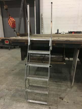 Aluminum Stake Pocket Truck Ladder W/Storage Rack