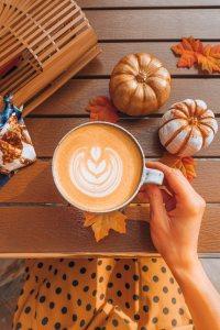 Ein Pumpkin Spice Kaffee latte ist mit dem Aroma von Caferia im Handumdrehen zubereitet. Perfekt für Thanksgiving und Halloween, aber auch um die Weihnachtszeit.