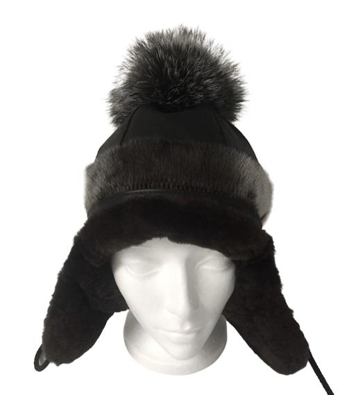 1_GNP_Ladies_Pompom_Hat_Front_Leather_SealSkin_SilverFoxPompom_Beaverlining