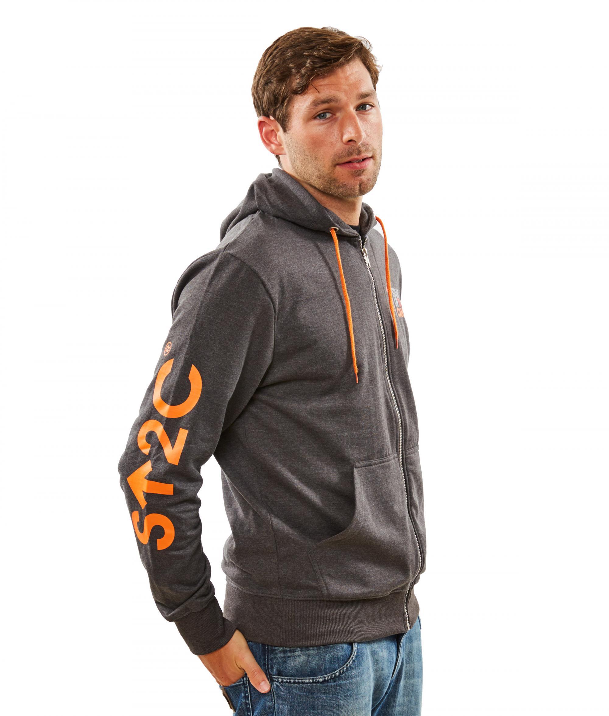 Stand Cancer Men' Grey Hoodie With Orange Trim
