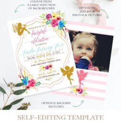 fairy birthday invitation template digital printable c7
