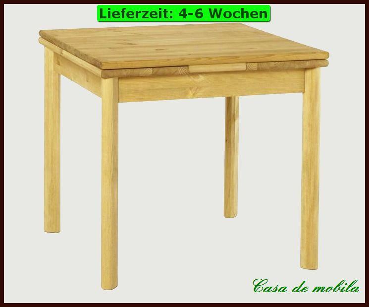 ESSTISCH Tisch 80x80 ausziehbar Kchen Holz Kiefer massiv