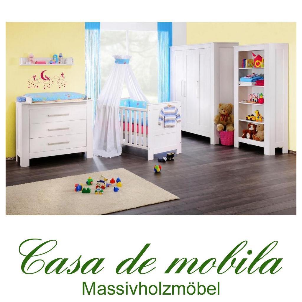 massivholz babyzimmer kinderzimmer kiefer massiv weiss emma 5tlg komplett weiss gewachst