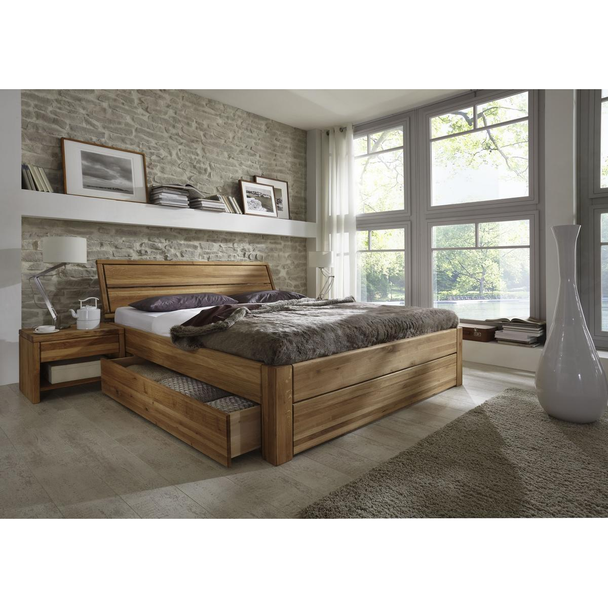 S De Schlafzimmer Betten Breite Cm Massivholz Schubladenbett X Holzbett Bett Eiche Massiv Geoelt L