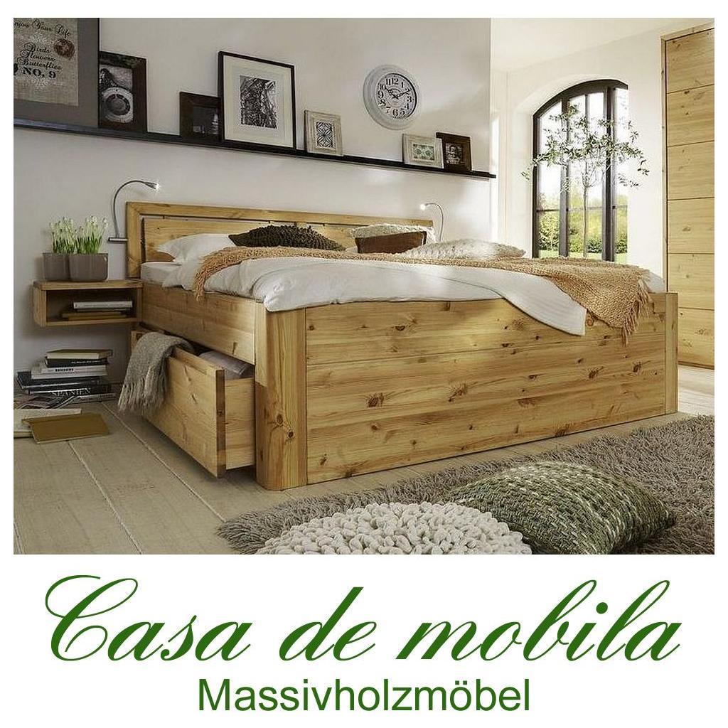 massivholz doppelbett mit schubladen 180x200 astkiefer massiv gelaugt geolt gloria luxus