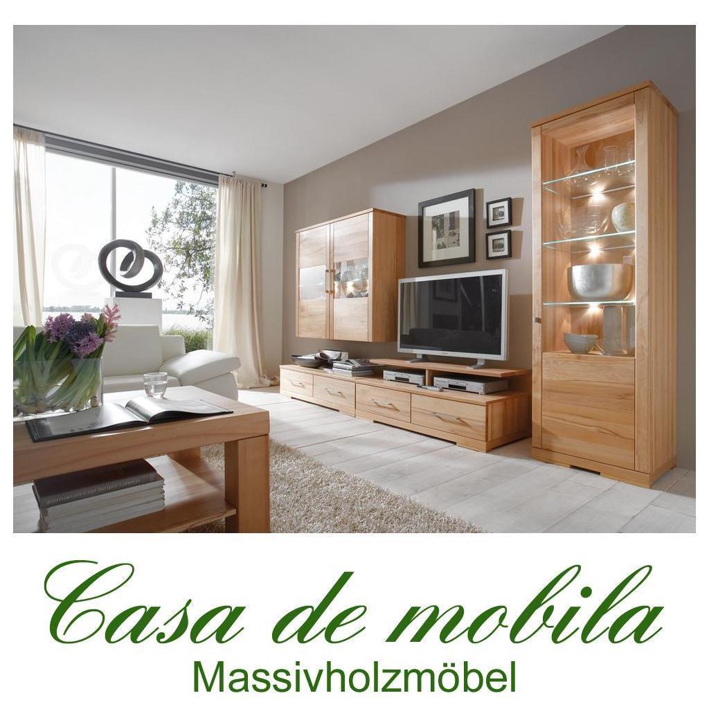 Wohnwand Trento Kernbuche Teilmassiv Schlafzimmer Minimalistisch