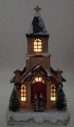 LED Lighted Musical Christmas Church Figurine