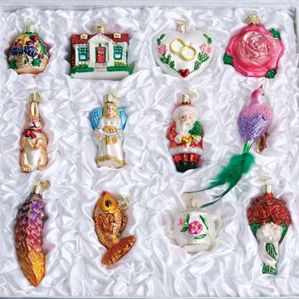 Old World 12pc Brides Tree Ornament Set