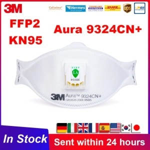 FFP2 3M Aura 9324 9324CN Dust Reusable KN95 Mask Dustproof Haze Weather with Valve Aura Particulates Respirator 3M 9332 Masks