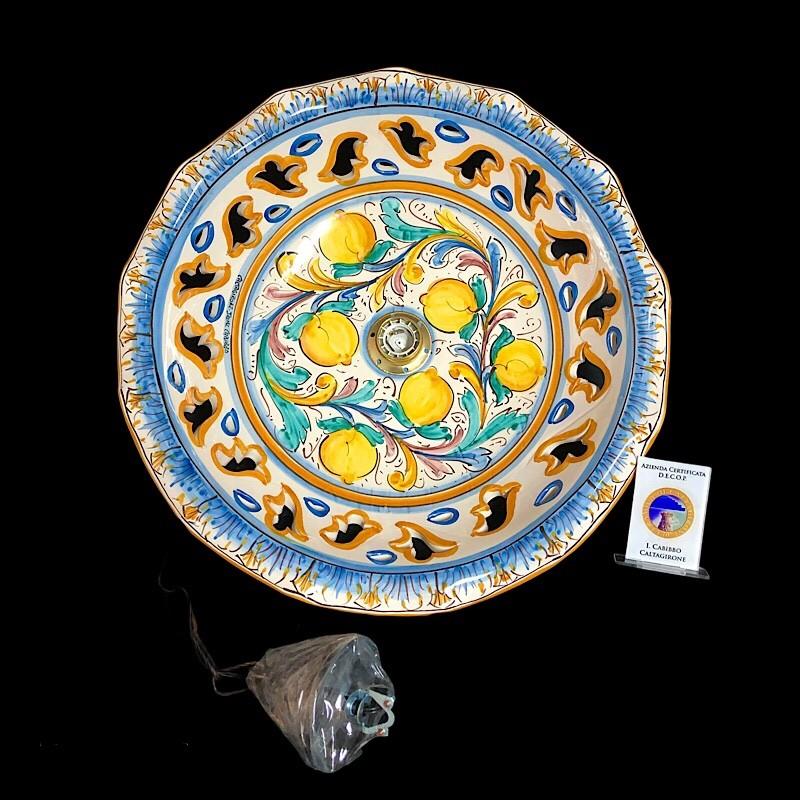 Lampada da soffitto o da parete piccola d.20 in ceramica decorata a mano e. Lampadario D 42 Decoro Antico In Ceramica Di Caltagirone