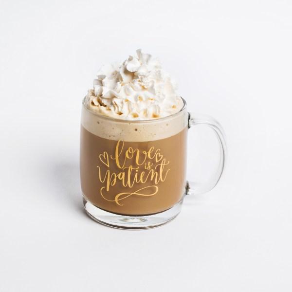 Love is patient gold mug
