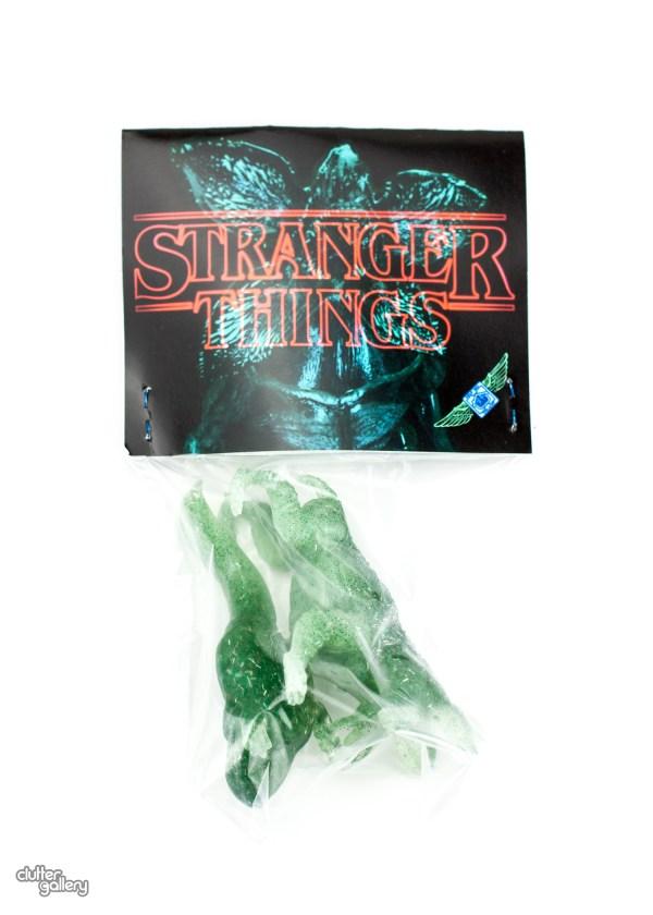 Stranger Demodog And Dart Lime Green Clutter