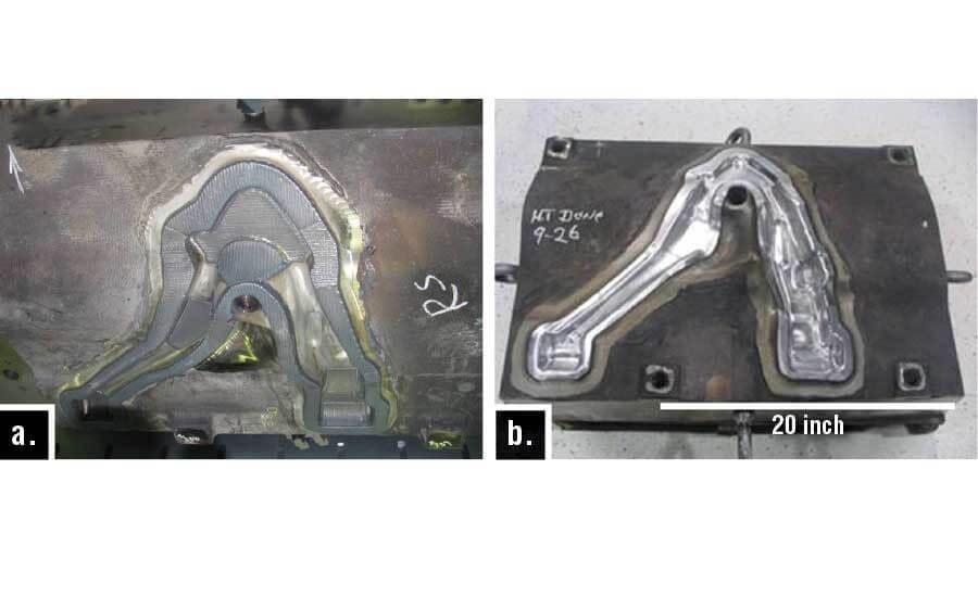 Рисунок 6. Верхняя половина ковочного штампа рычага управления: а) после МДД; б) после DMD и механической обработки