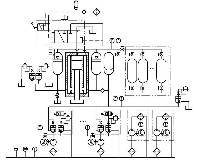 Общее изложение конструкции. Полно-гидравлический ковочный штамповочный молот использует отдельную конструкцию. То есть отдельная ведущая машина (силовая головка) и отдельная гидравлическая станция. Ведущая машина (силовая головка) установлена на колоннах, гидравлическая станция расположена на полу на фундаменте. Две эти части соединяются трубопроводами.