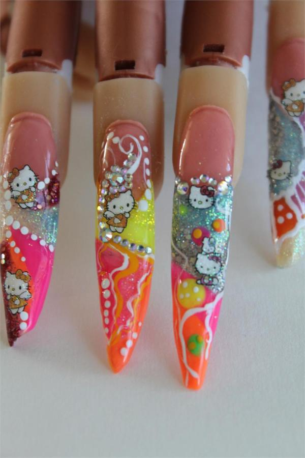 Color Nail Art Acrylics And Glitters-neon
