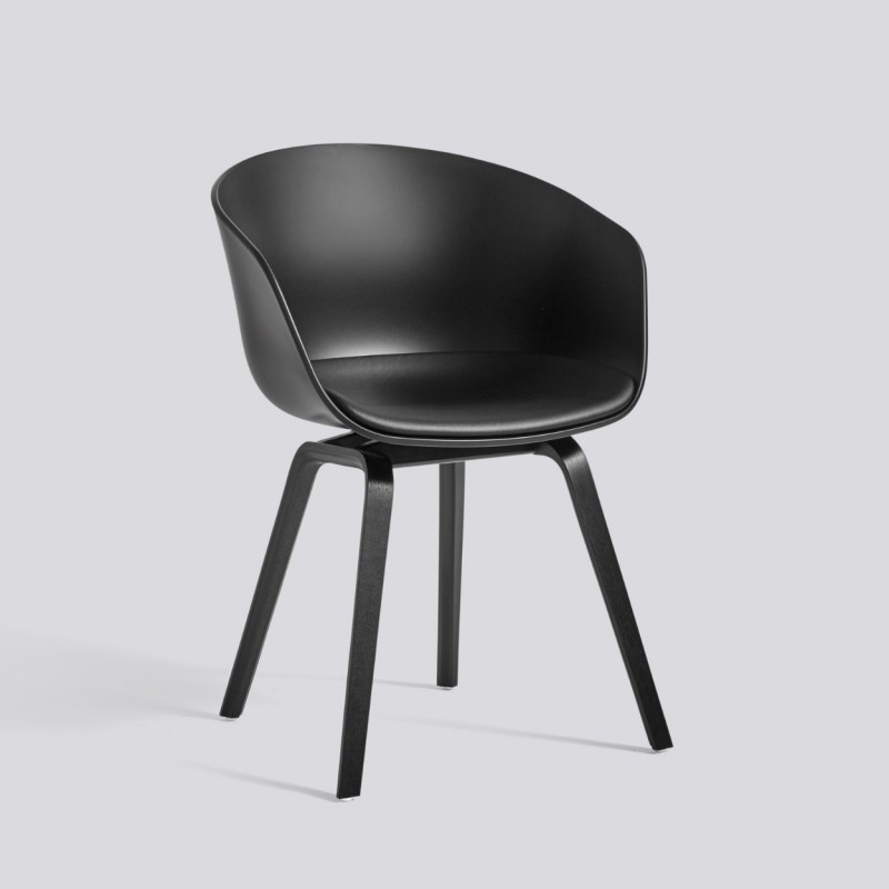 HAY AAC 22 CHAIR WITH FRONT UPHOLSTERY IN BLACK LEATHER