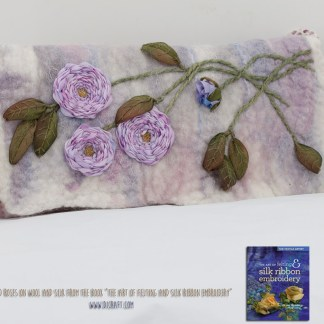 Clutch bag. Wild Roses on Wool and Silk