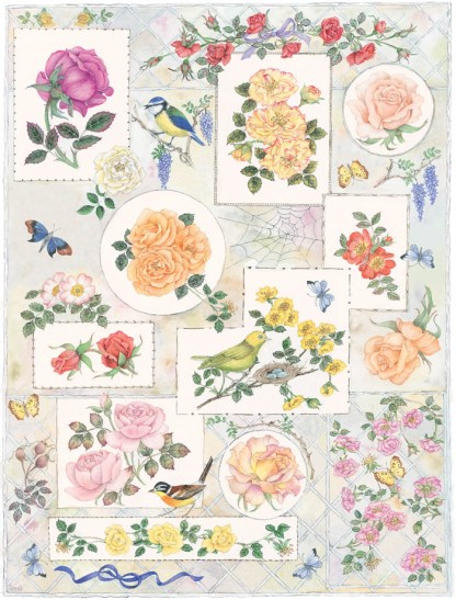 Printed panel - the rose sampler for the book