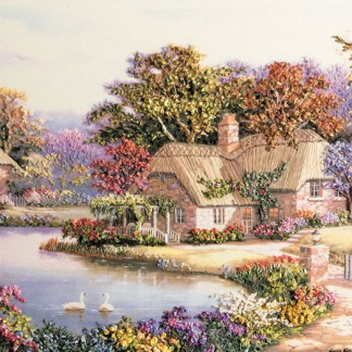 Swan Cottage A3 (large) printed panel - ready to embroider