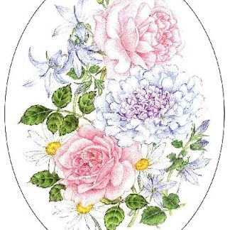 My Granny Rose and White Daisy embroidery panel, ready to embroider
