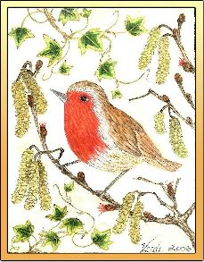 Red Robin embroidery panel, ready to embroider