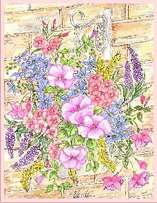 Flowers on the wall embroidery panel, ready to embroider