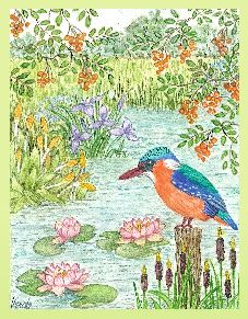 Kingfisher embroidery panel, ready to embroider