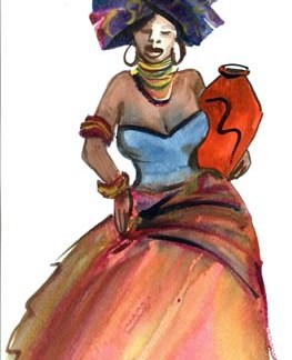 Xhosa Lady with Pot - A3 (Large) embroidery panel