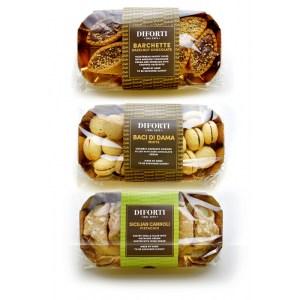 1) Sicilian Cannoli Pistachio Cream 1) Barchette Hazelnuts Chocolate 1) Baci Di Dama White