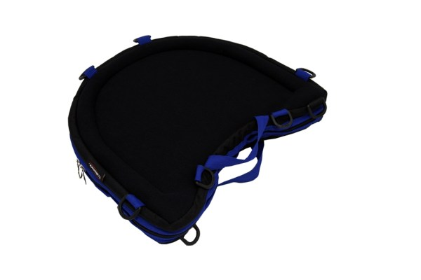 Trabasack Curve Connect wheelchair lap tray and bag with blue trim