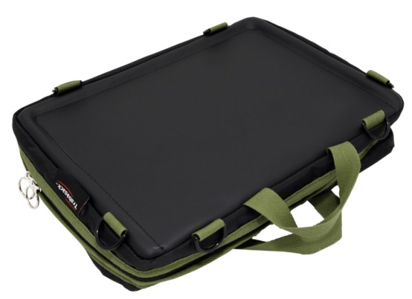 Trabasack Mini wheelchair lap tray and bag with green trim