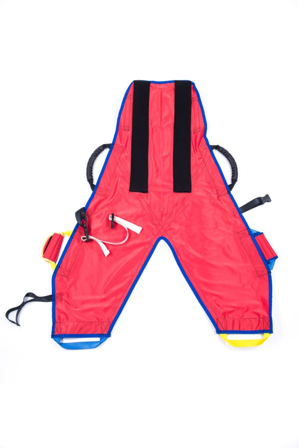 Front of red ProMove hoist sling with head support for disabled children and young adults