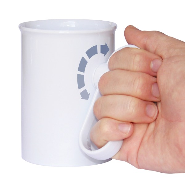Handsteady drinking aid with graphic showing how the handle is tilted to the side