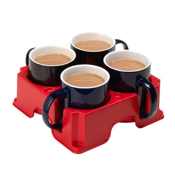 Red Muggi mug and cup holder holiday four black mugs