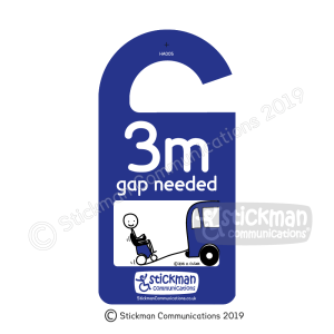 "Hanging disabled sign with stickman cartoon of a powerchair going up a ramp into a vehicle. Text reads: ""3m gap needed"""