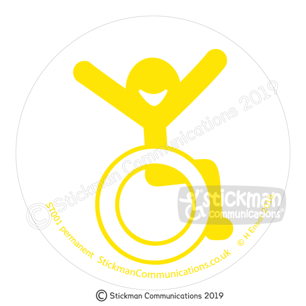 Image show a clear, circular sticker with a smiling stickman in a wheelchair with arms raised in the air with joy - in yellow