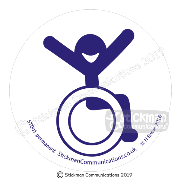 Image show a clear, circular sticker with a smiling stickman in a wheelchair with arms raised in the air with joy - in blue