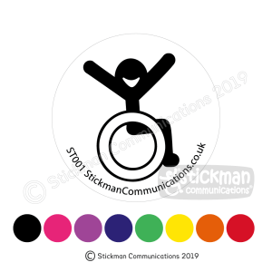 Image show a clear, circular sticker with a smiling stickman in a wheelchair with arms raised in the air with joy. At the bottom of the image it shows colour-spots to represent the colours the sticker is available in, including black, pink, purple, blue, green, yellow, orange and red