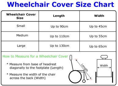 Size chart of Seenin total fleece wheelchair cover