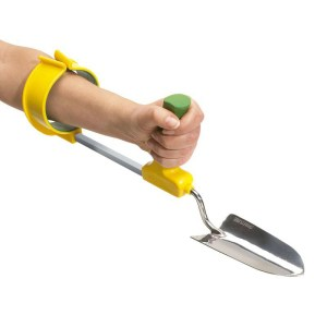 Easi-Grip cuff for garden tools with garden trowel attached