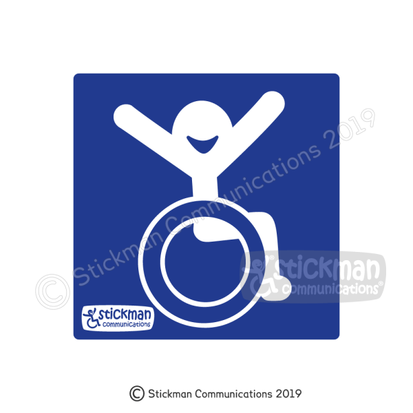 Happy Accessibility disabled sign vinyl sticker - image shows a blue square with a smiling stickman in wheelchair with arms raised joyfully in the air