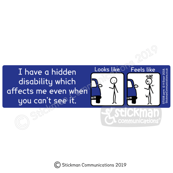 "Image shows a blue rectangle with a cartoon of a stickman looking fine, titled 'looks like' and a cartoon of a stickman dizzy and in pain, titled 'feels like'. Text reads: ""I have a hidden disability which affects me even when you can't see it"""