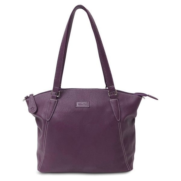 Image is a photograph of the Samantha Renke bag in a deep aubergine colour, on a white background