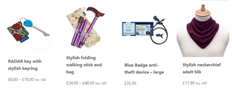Four products from the shop in our featured section