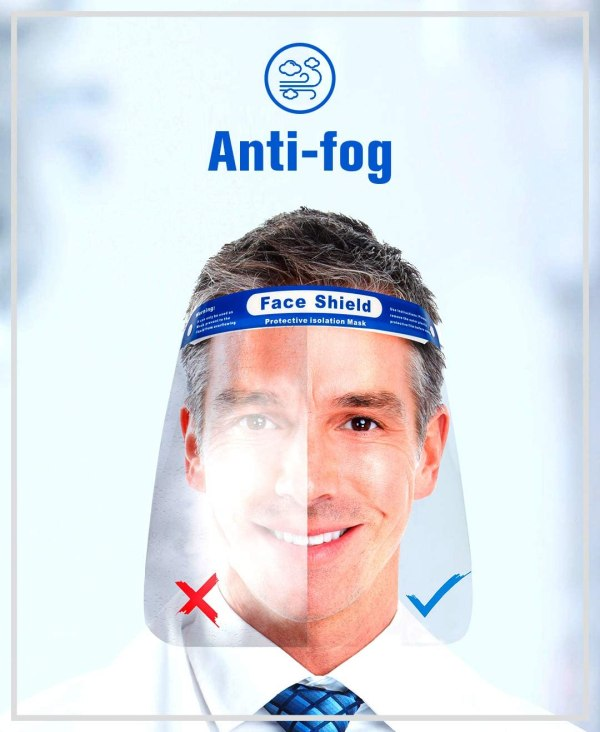 """Image shows a photograph of a smiling man, looking directly at the camera whilst wearing a protective isolation mask. The mask is split down the centre for illustrative purposes - to show the lefthand side fogged-up with poor visibility, and the righthand side being clear. Text reads """"anti-fog"""""""
