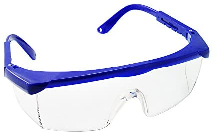 Image is a photograph of the front of a pair of blue upper framed safety glasses with the temples outstretched behind the lens