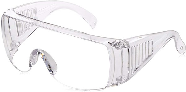 Image is an asymmetrical view of a pair of clear-framed safety glasses