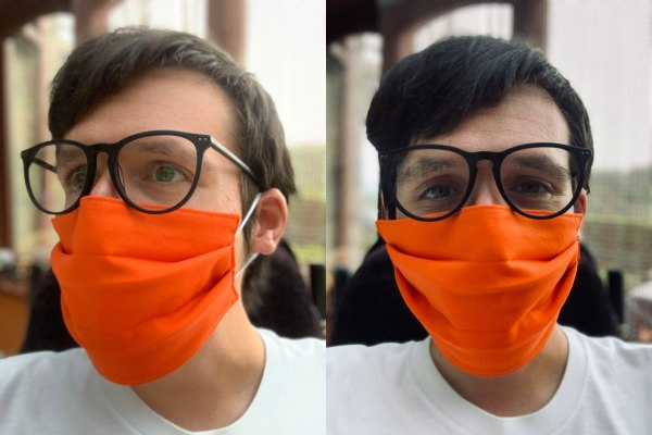 "Image is two photographs side-by-side, of a man wearing an bright ""Marigold"" orange-coloured fabric face mask. In the first photograph the man is looking to the left and in the second photograph the man is facing the camera."
