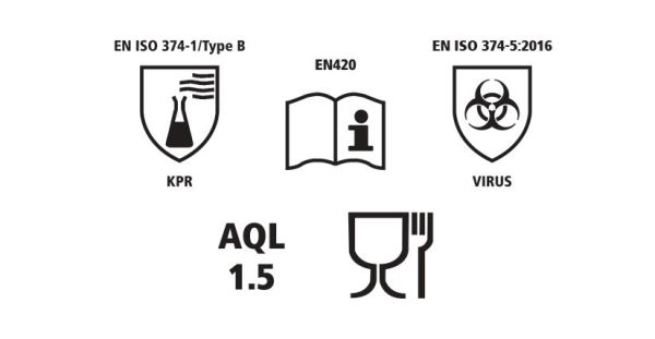 Image shows a collection of regulation icons including EN ISA 374-1/Type B KPR, EN420, EN ISO 374-5:2016 Virus, AQL 1.5 and Food and Drink