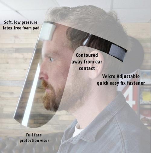 Man wearing a face shield